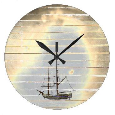 Beach Themed Beach Theme Ship Wood Wall Clock / Nautical Lovers