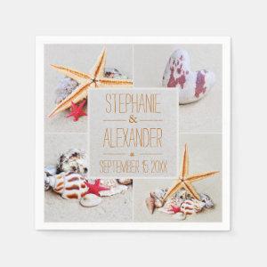 Beach Theme Starfish and Heart Paper Napkins