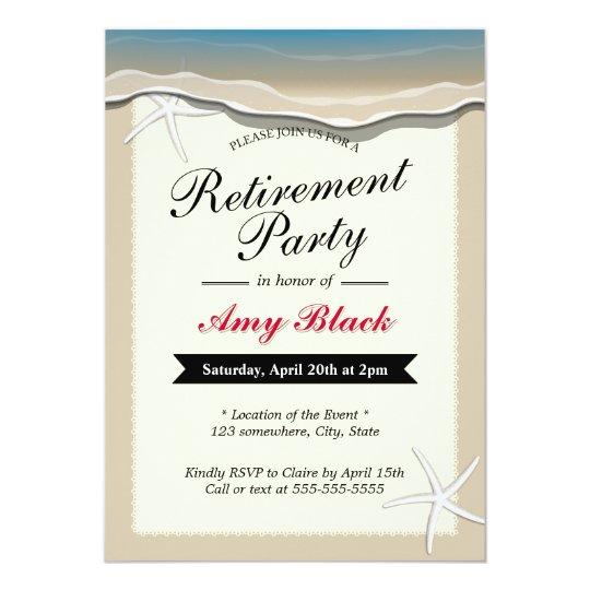 beach theme starfish retirement party invitation - Retirement Party Invites