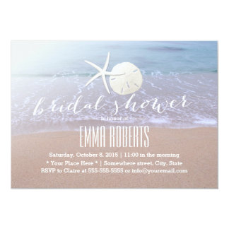 "Beach Theme Starfish & Sand Dollar Bridal Shower 5"" X 7"" Invitation Card"