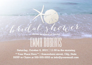 Beach bridal shower invitations zazzle beach theme starfish sand dollar bridal shower invitation filmwisefo