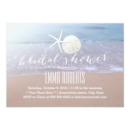 Beach Theme Starfish & Sand Dollar Bridal Shower Custom Invite (front side)