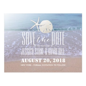 myinvitation Beach Theme Starfish & Sand Dollar Save the Date Postcard