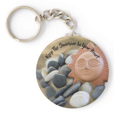Beach Theme Terra Cotta Sun, Sand and Rocks Keychain