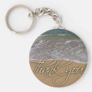 Beach theme Thank You Basic Round Button Keychain