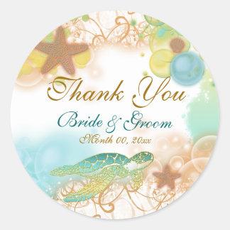 "Beach theme ""thank you"" wedding birthday classic round sticker"