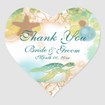 "Beach theme ""thank you"" wedding birthday heart sticker"