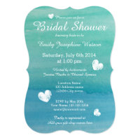 Beach theme watercolor bridal shower invitations