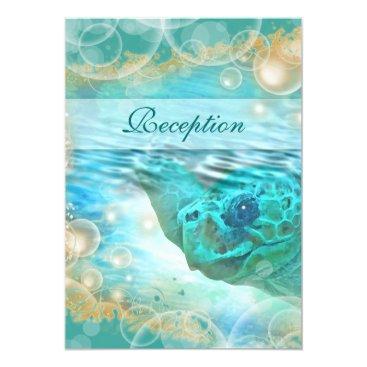 Beach Themed Beach theme wedding blue ivory reception card