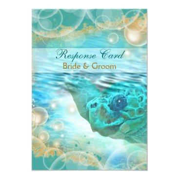 Beach Themed Beach theme wedding blue ivory response card