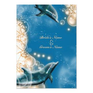 Beach theme - wedding dolphin elegant party 5x7 paper invitation card