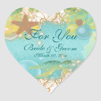 "Beach theme wedding favor ""For you"" Heart Sticker"