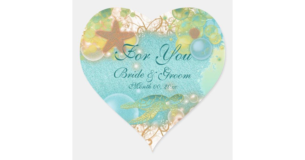 Beach Theme Wedding Favor For You Heart Sticker