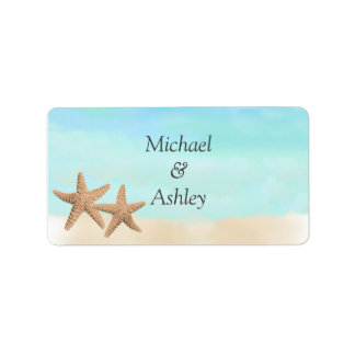Beach Theme Wedding Favor Labels