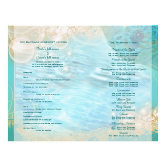 "Beach theme ""wedding program"" turtle flyer"