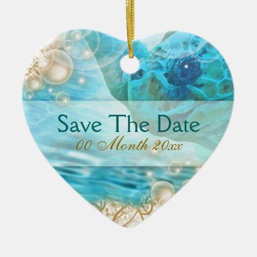 "Beach theme wedding ""save the date"" turtle christmas ornaments"