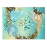 "Beach theme wedding ""table number"" aqua postcard"