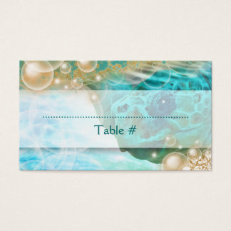 "Beach theme wedding turtle ""table number"" business card"