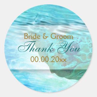 "Beach theme wedding turtle ""thank you"" classic round sticker"