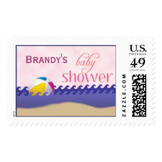 Beach theme yellow and pink baby shower postage