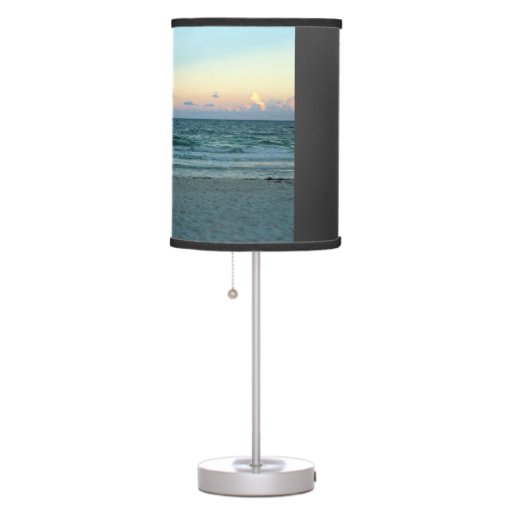 beach themed a beach with white sands blue water desk lamp zazzle. Black Bedroom Furniture Sets. Home Design Ideas