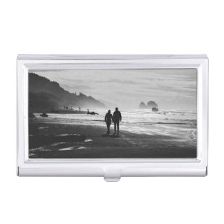 Beach Themed, A Couple Holds Hands As They Walk On Business Card Case