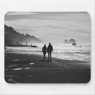Beach Themed, A Couple Holds Hands As They Walk On Mouse Pad