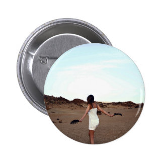 Beach Themed, A Girl In White Dress Holding Black 2 Inch Round Button