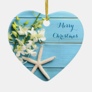 beach themed christmas ornaments heart starfish