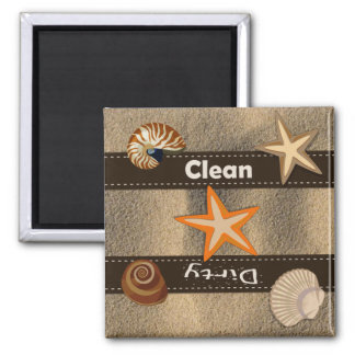 Beach Themed Clean and Dirty Dishwasher 2 Inch Square Magnet