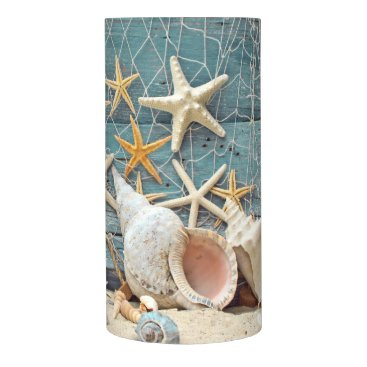 Beach Themed Conch Shell, Starfish & Fishing Net Flameless Candle