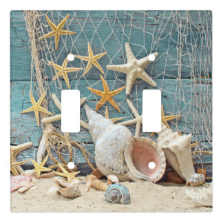 Beach Themed Conch Shell, Starfish & Fishing Net Light Switch Cover