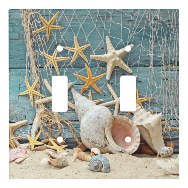 Beach Themed Conch Shell  Starfish  U0026 Fishing Net Light Switch Cover