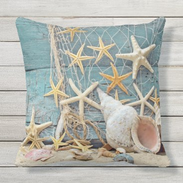 Beach Themed Beach Themed Conch Shell, Starfish & Fishing Net Throw Pillow