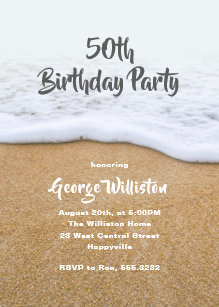 Beach Themed Guys Birthday Party Invitation
