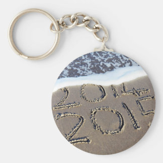 Beach Themed, Ocean Waves Washing Text '2014' Writ Keychain