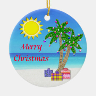 Beach Themed Ornaments,  Merry Christmas! Ceramic Ornament