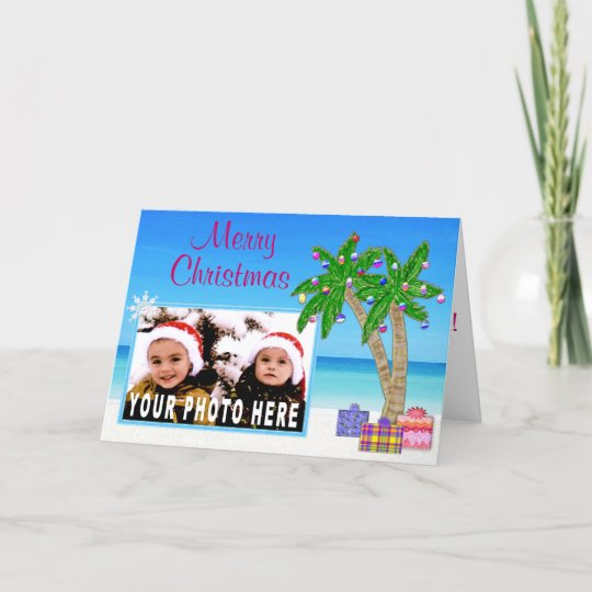 beach themed photo insert christmas cards - Beach Christmas Cards