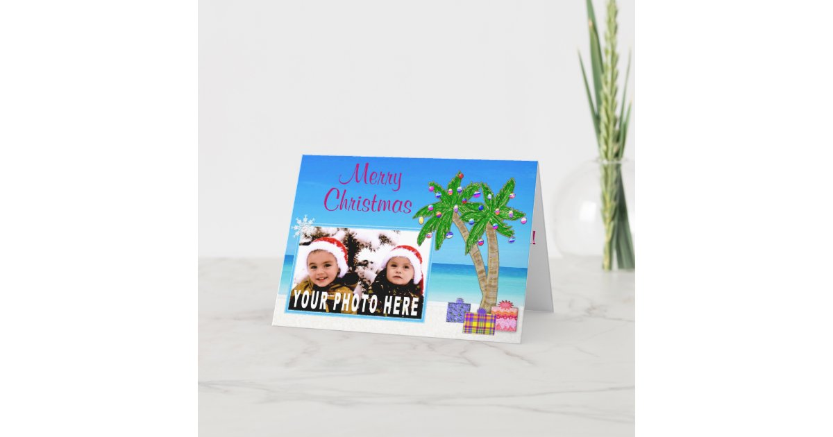 Beach Themed PHOTO Insert Christmas Cards | Zazzle.com