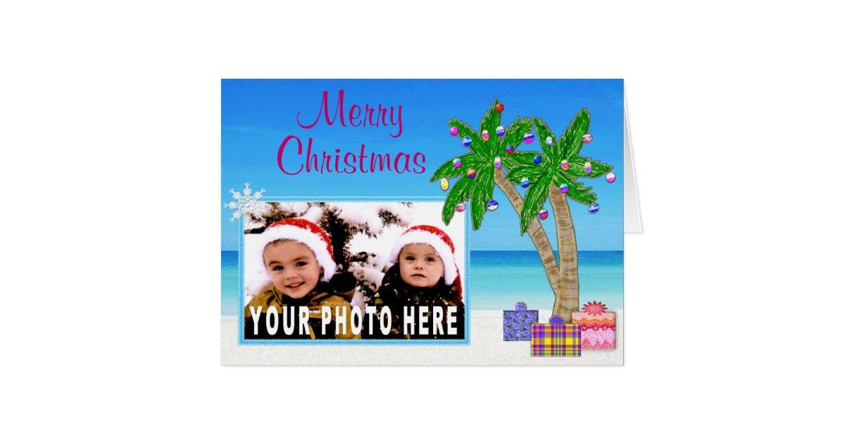 Beach Themed PHOTO Insert Christmas Cards | Zazzle