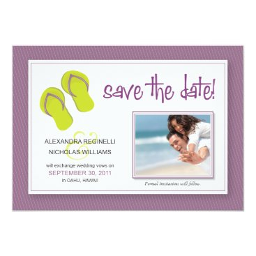 Beach Themed Beach-Themed Save the Date Announcement (purple)