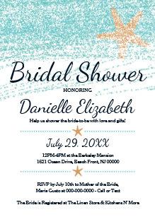 beach themed starfish bridal shower invitation
