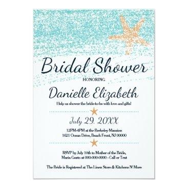 KBel_PartyAndPaper Beach Themed Starfish Bridal Shower Invitation