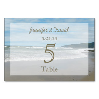 Beach Themed Wedding Numbers Cards