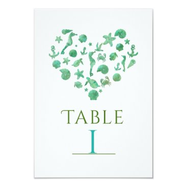 Beach Themed Beach Things Green Watercolor Table Number Cards
