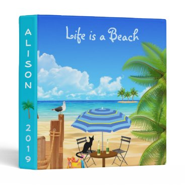 Beach Themed BEACH TIME. BLACK CAT AT THE BEACH SUMMER VACATION BINDER