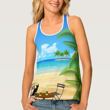Beach Themed BEACH TIME. BLACK CAT AT THE BEACH SUMMER VACATION TANK TOP