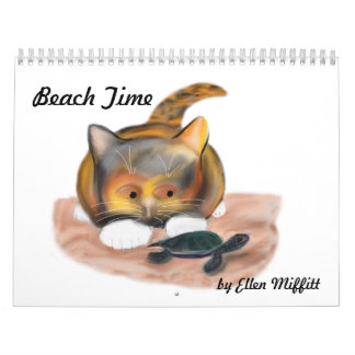 Beach Time Calendar with Cats and Kittens