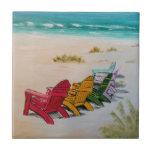 "beach time ceramic tile<br><div class=""desc"">chairs on beach</div>"