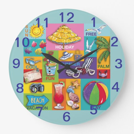 Beach Time Collage- wall clock